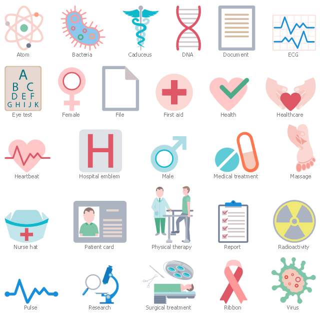Workflow shapes, virus, surgical treatment, ribbon, research, report, radioactivity, pulse, physical therapy, patient card, nurse hat, medical treatment, massage, male, hospital emblem, heartbeat, healthcare, health, first aid, file, female, eye test, drawing shapes, document, caduceus, bacteria, atom, ECG, DNA,