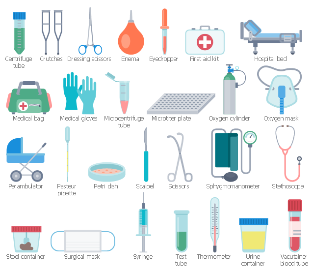 Workflow shapes, vacutainer, blood tube, urine container, triangle isosceles, thermometer, test tube, syringe, surgical mask, stool container, stethoscope, stadium, sphygmomanometer, scissors, scalpel, rectangle, perambulator, pasteur pipette, oxygen mask, oxygen cylinder, oxygen tank, microtiter plate, microcentrifuge tube, medical gloves, medical bag, hospital bed, first aid kit, eyedropper, enema, dressing scissors, drawing shapes, crutches, centrifuge tube, Petri dish,
