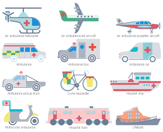 Workflow shapes, motorcycle ambulance, lifeboat, hospital train, hospital ship, drawing shapes, cycle responder, ambulance pickup truck, ambulance car, ambulance bus, ambulance, air ambulance propeller aircraft, air ambulance jet aircraft, air ambulance helicopter,