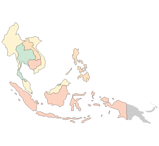 Southeast Asia Political map Asia Vector stencils library