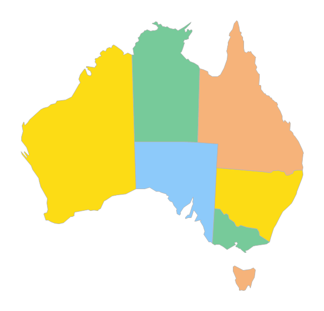 australia state australia australia map