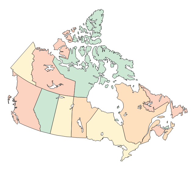 Canada (color), Canada, Canada map,