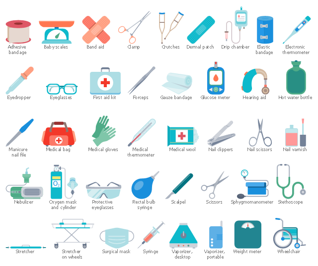 Pharmacy icons, wheelchair, weight meter, syringe, surgical mask, stretcher on wheels, stretcher, stethoscope, sphygmomanometer, scissors, scalpel, rectangle, rectal bulb syringe, protective eyeglasses, safety goggles, portable vaporizer, oxygen mask, oxygen cylinder, nebulizer, nail varnish, nail scissors, nail clippers, medical thermometer, medical gloves, medical cotton wool, medical clamp, medical bag, manicure nail file, hot water bottle, hearing aid, glucose meter, gauze bandage, forceps, first aid kit, eyeglasses, eyedropper, electronic thermometer, elastic bandage, drip chamber, drawing shapes, desktop vaporizer, dermal patch, crutches, band aid, baby scales, adhesive bandage,