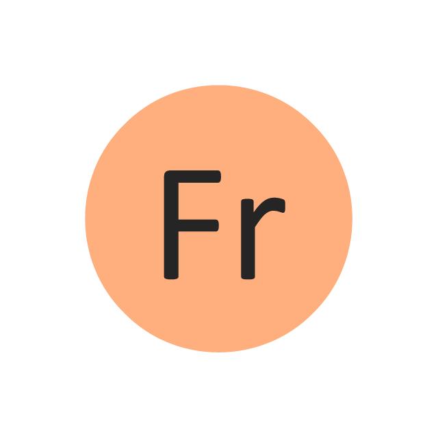 Francium (Fr), francium, Fr,