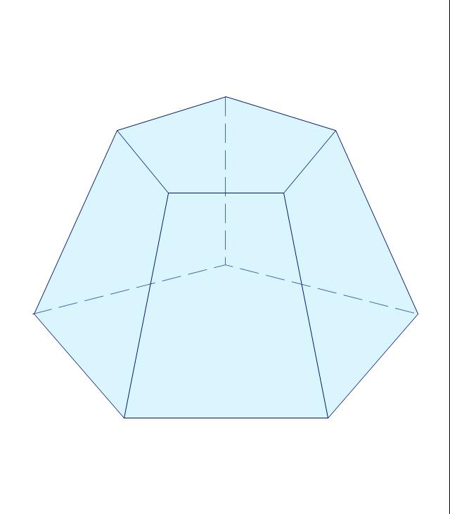 Pentagonal frustum, pentagonal pyramid with flat top,