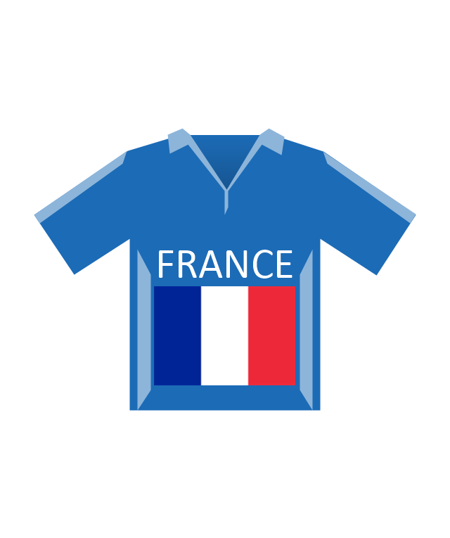Team shirt (France), soccer team shirt, France,