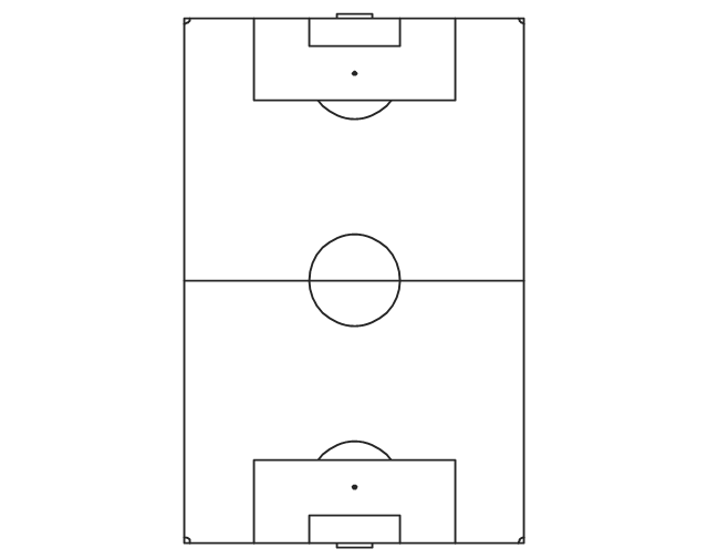 Simple vertical soccer (football) field, vertical football field, vertical soccer field,