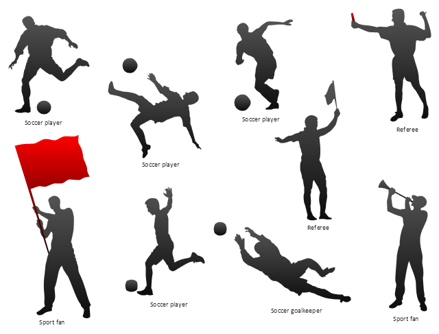 Silhouettes, sport fan silhouette, soccer player silhouette, referee silhouette, goalkeeper silhouette,