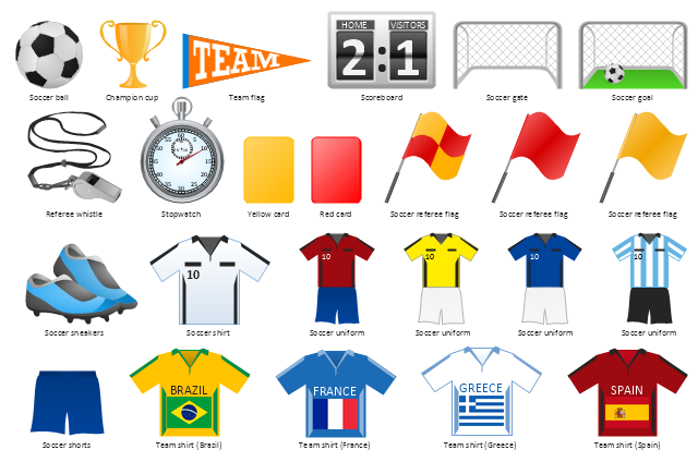 Association football clip art, yellow card, team flag, stopwatch, soccer uniform, soccer team shirt, soccer sneakers, soccer shorts, soccer shirt, soccer referee flag, soccer goal, soccer gate, soccer ball, referee whistle, red card, football score board, champion cup, Spain, Greece, France, Brazil,