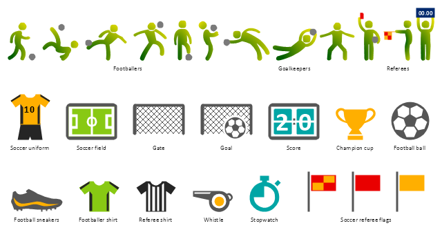 Pictograms, whistle, stopwatch, soccer uniform, soccer referee flag, soccer field, score, referee shirt, referee, goalkeeper, goal, gate, footballer, football player, soccer player, footballer shirt, football sneakers, football ball, champion cup,