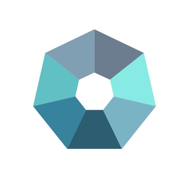 Crystal diagram - 7 elements, crystal diagram, heptagon diagram,