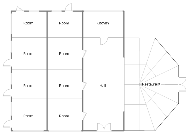 Minihotel floorplan, window, casement, wall, room, opening, double door, door, Victorian conservatory,