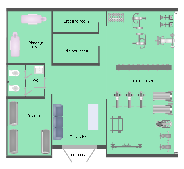 Health club floor plan, window, casement, weight bench, wall, upright bicycle, stationary bike, treadmill, toilet, built-in cistern, tanning bed, stair stepper, stair climber, sofa, self spotting, rowing machine, multi purpose bench, multi press, multipress, massage table, left rectangle table leaf, rectangle table leaf, dumbbell rack, dumbbell, double door, door, crossover machine, climbing wall, basin,