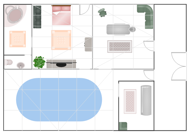 Floor plan, wardrobe, wall, toilet, tanning bed, square rug, spa tub, sofa, sectional sofa, left arm, room, rolling chair, rectangular table, table, rectangular rug, plant, potted plant, pedestal sink, oval pool, oval-shaped pool, pool, opening, massage table, flat screen, TV, double door, double bed, door, armless sectional sofa, sectional sofa, Georgian conservatory,