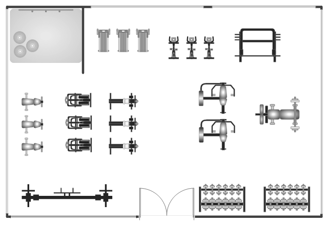 Gym foor plan template, window, casement, weight bench, wall, upright bicycle, stationary bike, treadmill, stair stepper, stair climber, self spotting, rowing machine, room, multi purpose bench, multi press, multipress, mat, exercise ball, dumbbell rack, dumbbell, double door, crossover machine, ballet bar,