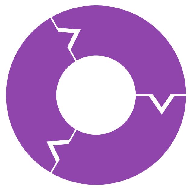 Ring chart - 3 elements, doughnut chart, pie chart, ring chart, donut chart,