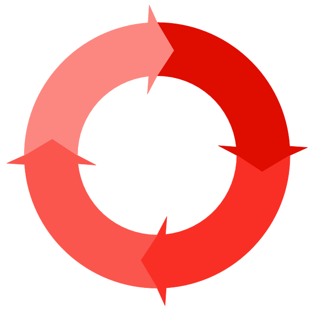 Circular arrows diagram - orange,