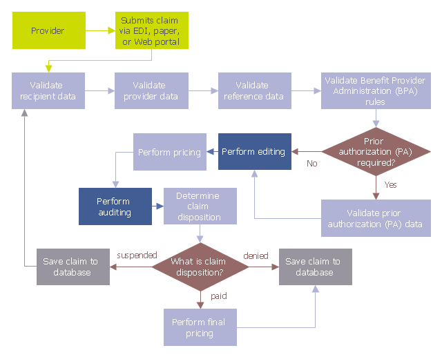 Audit flowchart, tagged process, decision,