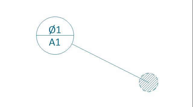 Target area (circle), datum target, area,