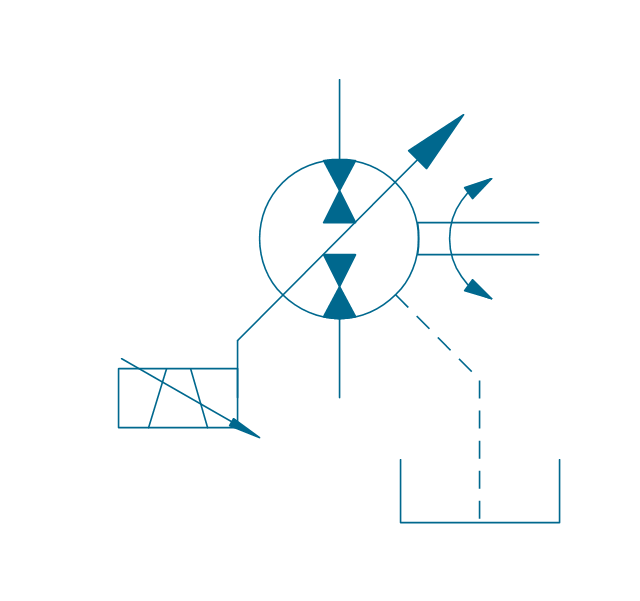 Pump-motor, var., var. solenoid 2, drain, hydraulic pump motor,