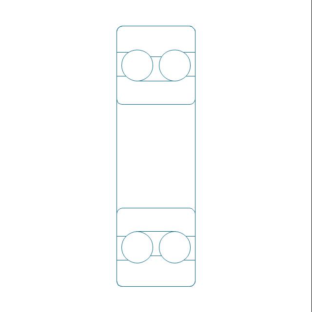 Angular contact ball bearing dbl, unhatched, double row, angular contact, ball bearing,