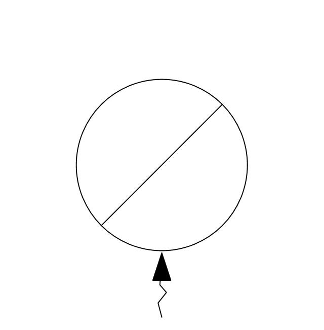 Circular inlet, flow arrow, circular inlet,