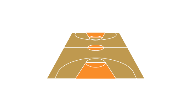 Basketball court, view from short side, basketball court, basketball court diagram, basketball court layout,