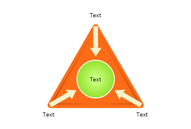 Triangle diagram, arrows, triangle diagram with circle and arrows,