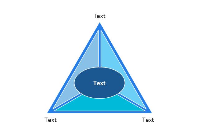 Triangle scheme, triangle diagram with oval,