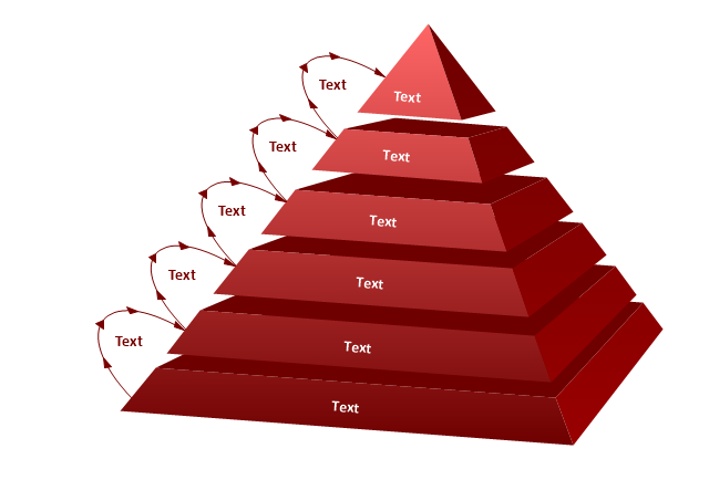 6-level pyramid diagram, 3D pyramid diagram,