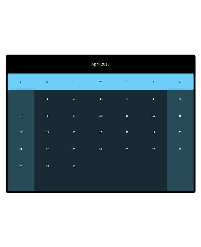 Small Calendar (Black, Rounded), month calendar,