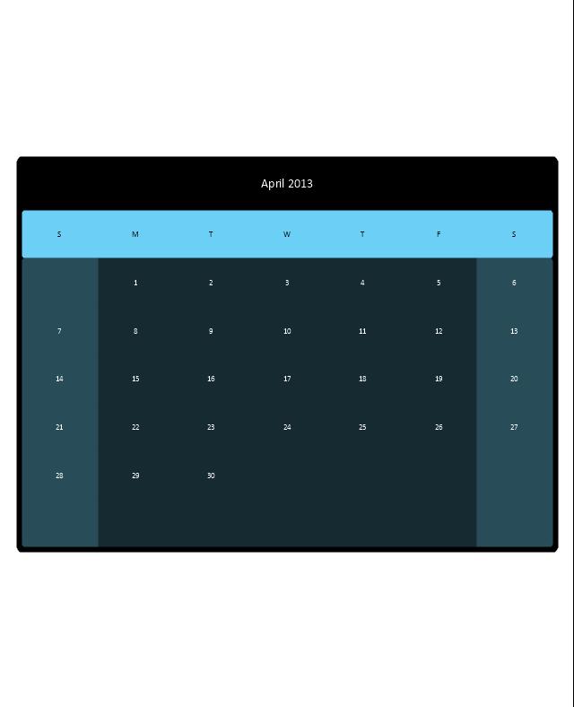 Small Calendar (Black, Rounded), month calendar,