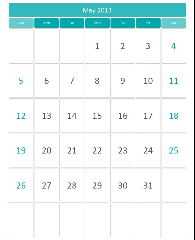 Mid Calendar (Rounded), month calendar,