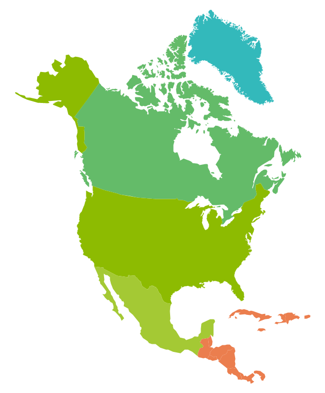 North America, North America, North America map, North American countries,