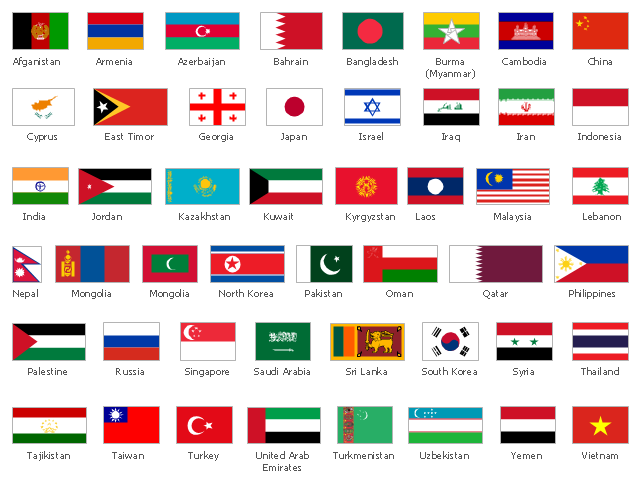 design elements asian country flags