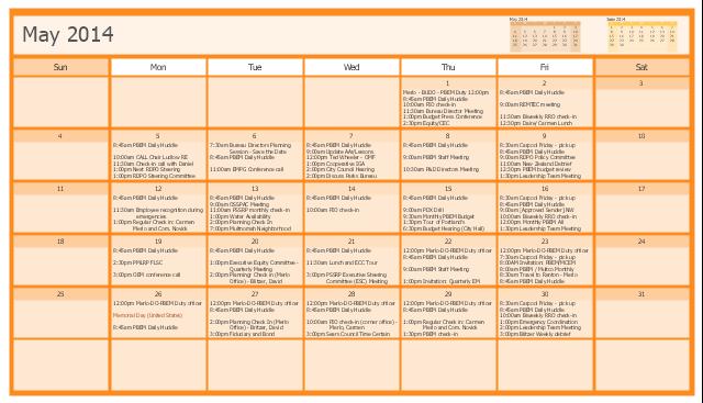 PBEM director's calendar, month calendar,