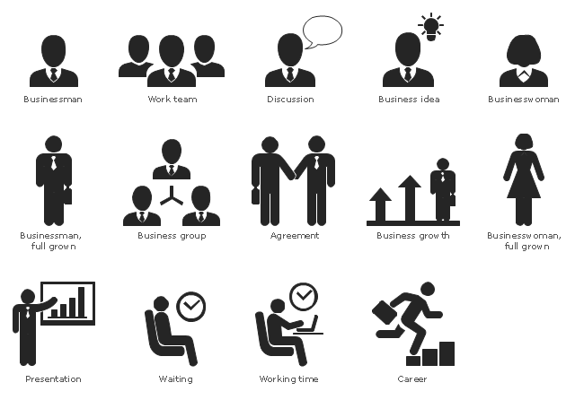 Pictograms, working time, work team, staff, waiting, presentation, communication, discussion, talking, message, consulting, career, growth, businesswoman, businessman, business idea, business growth, business group, affiliate, staff, team, management, communication, command, agreement, contract, partnership,