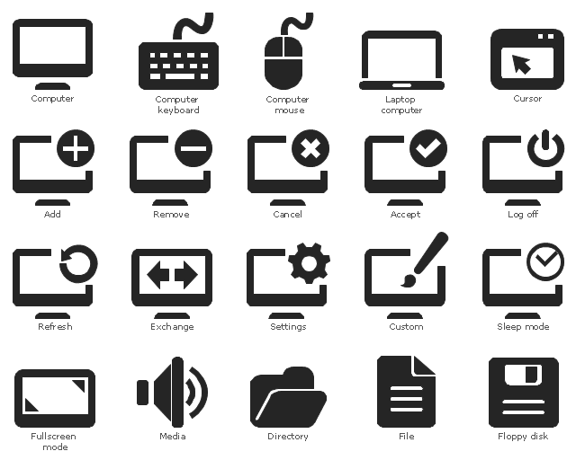 Pictograms, sleep mode, power saving, settings, preferences, remove, refresh, media, loud, sound, speaker, log off, shutt down, power, laptop computer, notebook, fullscreen mode, floppy disk, file, document, exchange, internet web technology, directory, folder, custom, website design, cursor, window, computer, monitor, computer mouse, computer keyboard, cancel, add, accept,