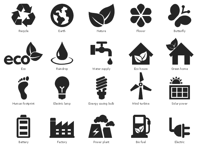 Eco pictograms, wind turbine, windmill, water tap, water supply, solar power, solar panels, recycle, ecology, utilization, raindrop, power plant, nature, vegetation, green home, footprint, human footprint, flower, factory, industry, power plant, energy saving bulb, electric lamp, electric, eco house, eco, earth, globe, butterfly, bio fuel, charging station, battery, accumulator,