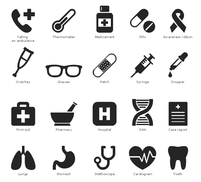 Medical pictograms, tooth, thermometer, temperature, syringe, stomach, stethoscope, phonendoscope, pills, pharmacy, patch, plaster, medicament, remedy, preparation, cure, lungs, hospital, glasses, eyeglasses, first aid, echocardiography, cardiogram, heart, dropper, pipette, crutches, case report, medical report, calling an ambulance, awareness ribbon, DNA,