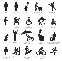 Pictograms, woman, winner man, winner, sitting man reading, running man, old man with a cane, man, person, man throwing garbage into a trash can, man sitting on the floor, man pushing the shopping trolley, man photographing, man on a bicycle, cyclist, man lying under parasol, man kneeling, man in wheelchair, man exit, man cooking, man climbing stairs, man carrying a box, joyful man, happy man, child, child with balloon,