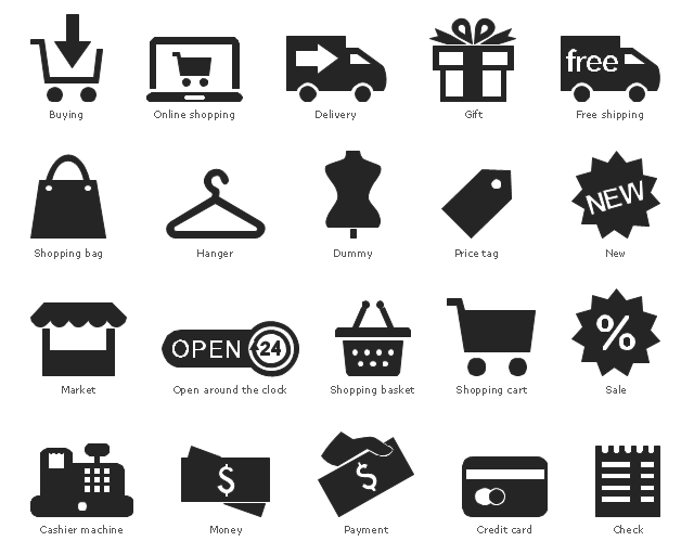 Pictograms, shopping cart, shopping basket, shopping bag, sale, discounts, price tag, label, payment, pay, open around the clock, online shopping, new, money, cash, payment, currency, finance, market, store, mannequin, dummy, fashion, hanger, gift, free shipping, delivery, credit card, cashless payment, check, bill, cashier machine, cash till, cash, buying, shopping,