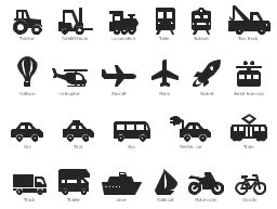 Vehicle pictograms, yacht, boat, sailboat, truck, tram, train, railway, trailer, tractor, tow truck, recovery vehicle, evacuator, taxi, subway, metro, speed train, rocket, plane, motorcycle, scooter, moped, locomotive, train, liner, ship, helicopter, forklift truck, electric car, eco car, car, motor car, passenger car, bus, bicycle, bike, cycle, aircraft, aerostat, balloon, aerial tramway, ropeway, cableway,