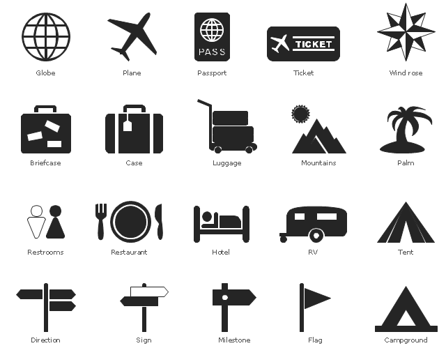 Pictograms, wind rose, compass, ticket, air ticket, tent, sign, direction, restrooms, WC, recreational vehicle, RV, plane, flight, plane, passport, palm, mountains, landscape, milestone, luggage, things, hotel, transit, globe, earth, world, food, plate, fork, knife, dinner, restaurant, flag, direction, case, campground, camping, briefcase,