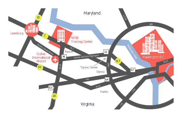 Location map, skyscraper, road, river, junction number, city, building, airport,