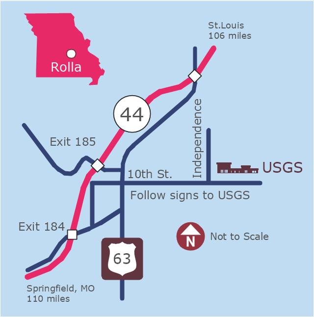 Locator map, shopping centre, road, police, North arrow, Missouri,