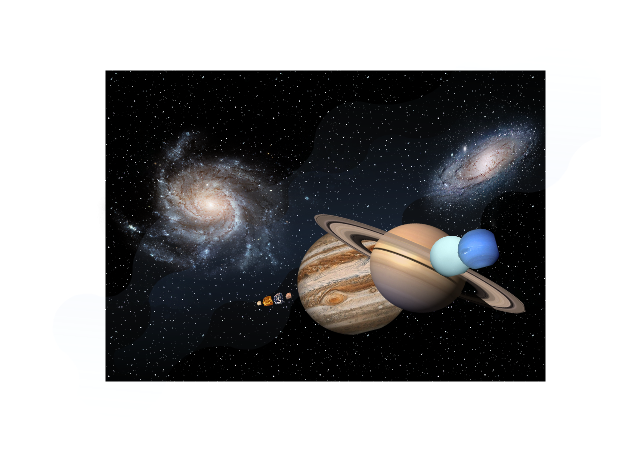 Relative sizes of the Solar System planets, planets, night sky, galaxy,