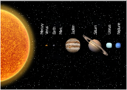 Solar planets, night sky, half of the sun, sun, Venus, Uranus, Saturn, Neptune, Mercury, Mars, Jupiter, Earth,