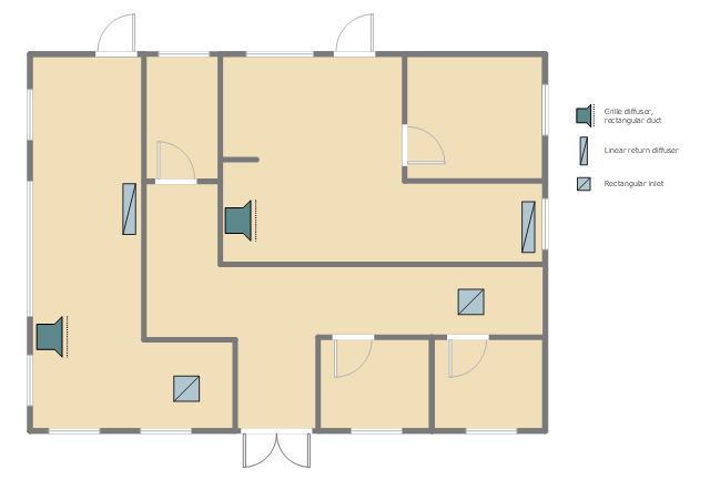 Reflected ceiling plan, window, casement, wall, room, rectangular inlet, linear outlet, diffuser, grille diffuser, double door, door, L-room,