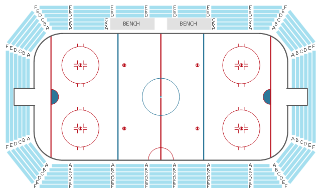 Seat layout, sector, hockey field, hockey field diagram, hockey field layout, ice rink layout, balcony ,